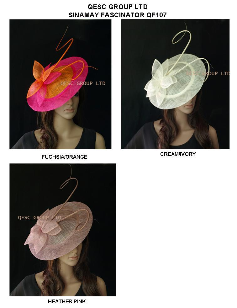 BIG saucer Sinamay Fascinator Hat with otrich spine for wedding,kentucky derby.fuchsia/orange,cream,black,heather pink.(China (Mainland))