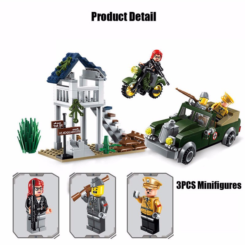 206PCS Military Speical Task Motorcycle Vehicle Model Bricks Military Officer Figures Block Boy Toy Compatible With Enlighten