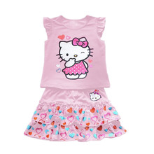 Girls Clothing Set wear cute clothes suit Hello Kitty peach lace skirt suit love Kitty Cat KT skirt + T-shirt 2 Pcs pink kt(China (Mainland))