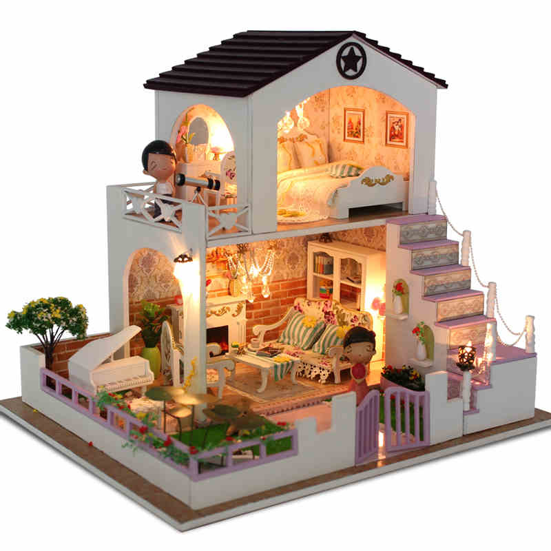 Diy Doll House Wooden Dollhouses Villa Model Include Furniture Led Miniature 3D Puzzle Dollhouse Creative Birthday Gifts Toys(China (Mainland))