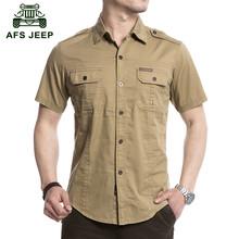AFS JEEP 2016 D'été hommes de marque casual chemise courte homme 100% pur coton kaki shirts armée tops grande taille M-3XL 4XL 5XL #3051(China (Mainland))