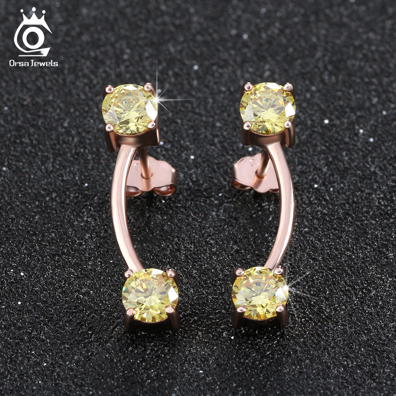 ORSA JEWELS Rose Gold Plated Silver Earring Studs with AAA 0.5ct Yellow Zircon Fashion Ladies' Christmas Gift for Women OE116(China (Mainland))