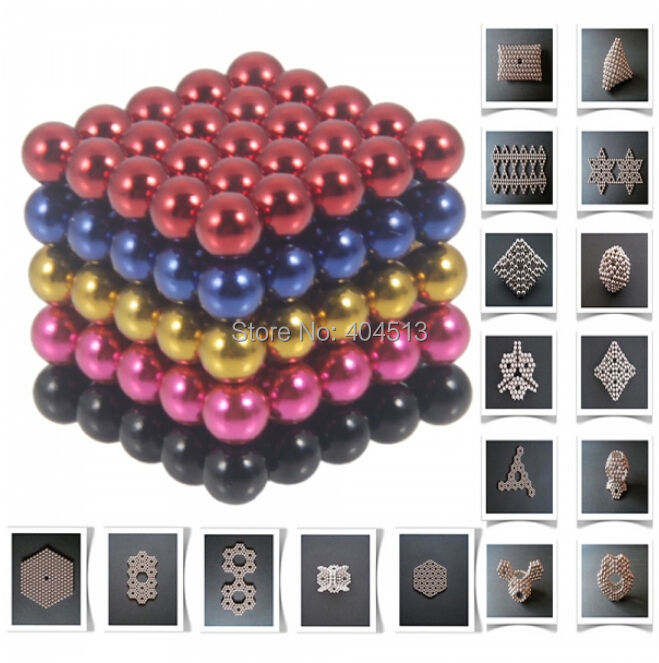 free shipping 125pcs 5mm DIY Buckyballs Neocube Magic Beads Magnetic Toy Black & Dark Blue & Red & Rose Red & Golden(China (Mainland))