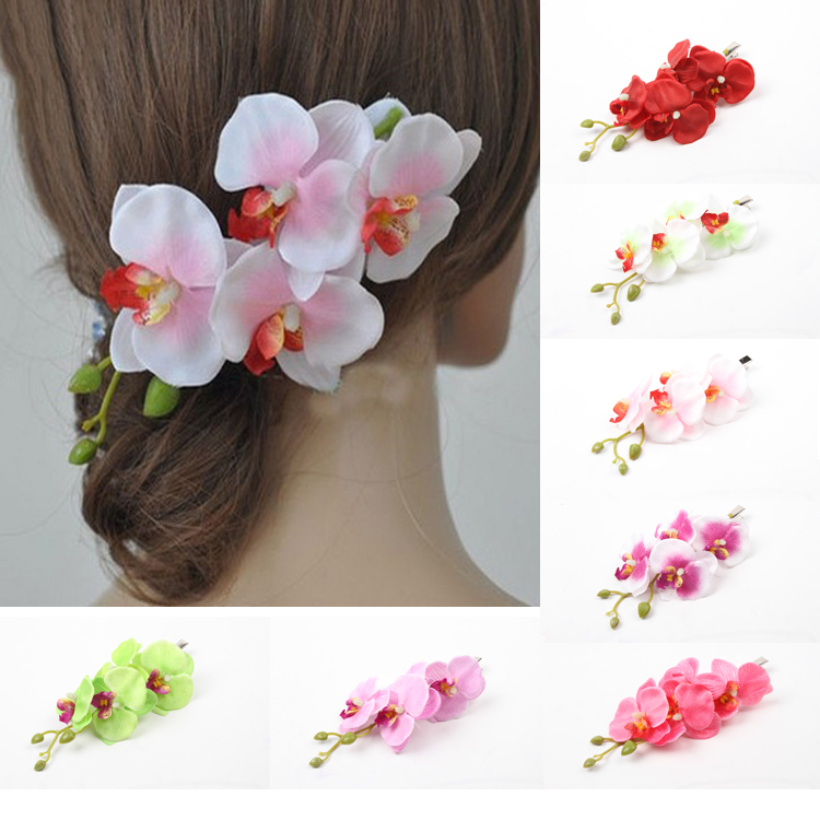 2016 Hot Sale Bride Bridesmaids Four Artificial Phalaenopsis Flowers Head Hairpin Hair Accessories Free Shipping(China (Mainland))