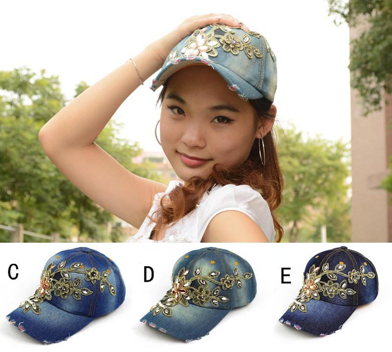 DHL/EMS Free Shipping Luxurious gold lace cowboy denim women baseball cap men Hat rhinestone print Diamond Point 50 pcs/lot(China (Mainland))