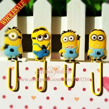 Hot sale,4pcs Minions Despicable me colorful bookmark school stationery office supply paper clips Metal Binder Clips Memo clips.(China (Mainland))