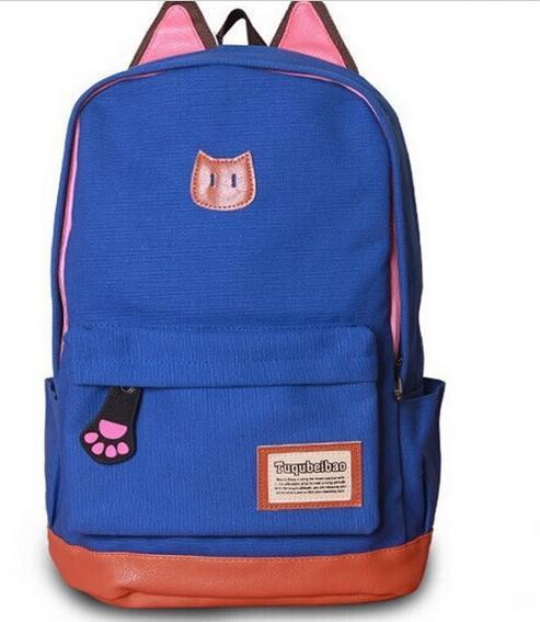 Campus Girl Women Cartoon Cat Ear Shoulder Bag Backpack Schoolbag Men Canvas Backpacks Travel Hiking Bags