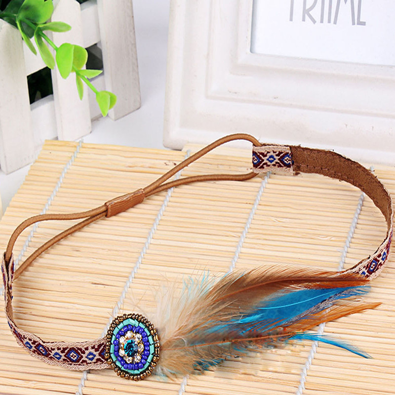 2016 Fashion Newest Bohemian Beads Feather Floral Ribbon Elastic Headbands Stretch Hair Bands Free Shipping(China (Mainland))