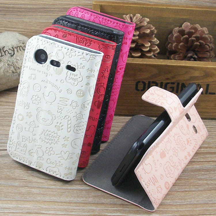 Magic Girl stand Leather Case cover with Holder Card Slots For HTC Incredible S G11 S710e freeshipping(China (Mainland))