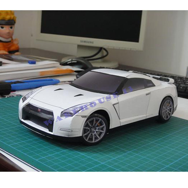 Free shipping 2013 new products 3d paper models car NISSAN GT-R EGOIST 1:18 scale collectible toy cars for sale kids puzzles toy(China (Mainland))
