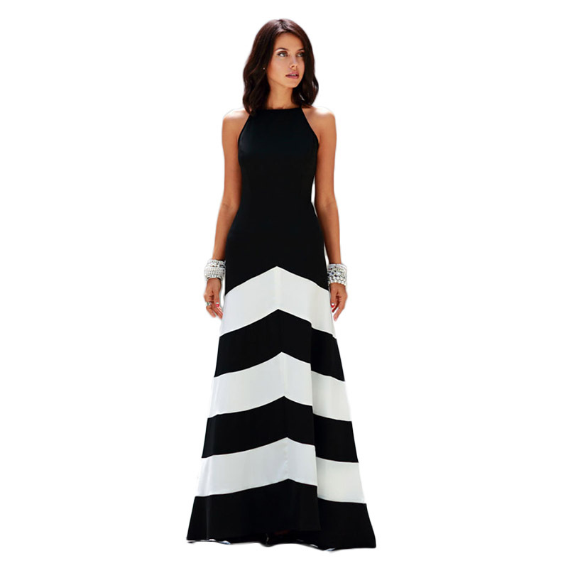 Galerry casual maxi dress black and white
