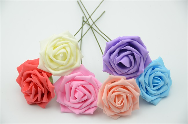 10pcs 6kind of colors Diameter 6-7 Cm Artificial Foam Roses For Home Bouquet Wedding Party Craft DIY Artificial Flowers Decor(China (Mainland))