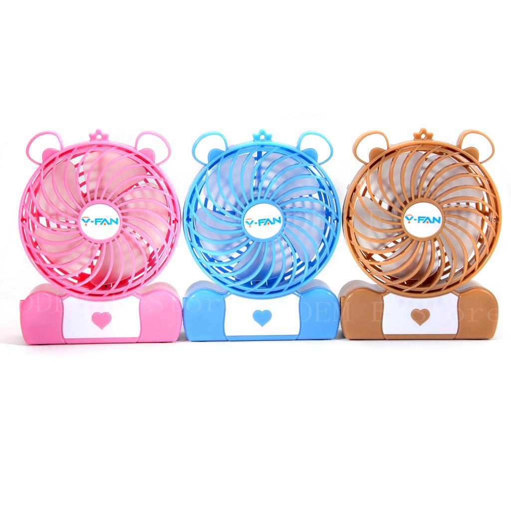 3 Inches Mini Electrical Portable Fan Rechargeable Cute Pocket Bear Fan 3 Speeds 18650 Bettery Desktop Cooler Fan Pink color(China (Mainland))