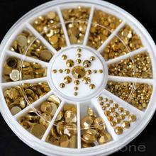 New Wholesale Mixed Sizes Nail Art Decoration Diy 3D Acrylic Glitter Gold Beads