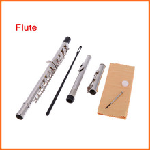 Western Concert Flute Silver Plated 16 Holes C Key Cupronickel Woodwind Instrument with Cleaning Cloth Stick Gloves Screwdriver(China (Mainland))