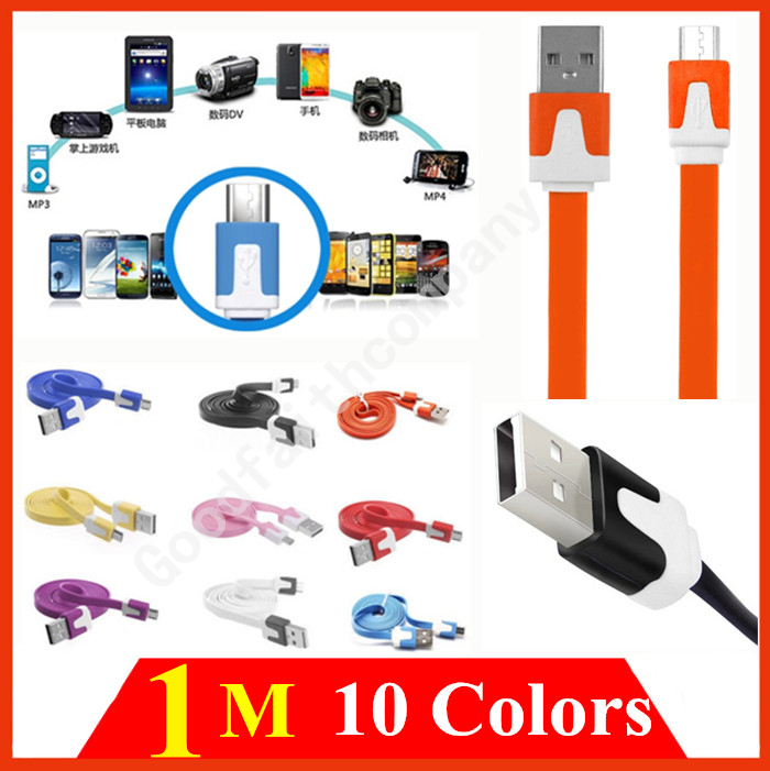 1M noodle Flat V8 micro usb data cord kabel extension charger cable for Samsung S2 S3 S4 S5 note 4 for HTC one for Nokia MP3 MP4(China (Mainland))
