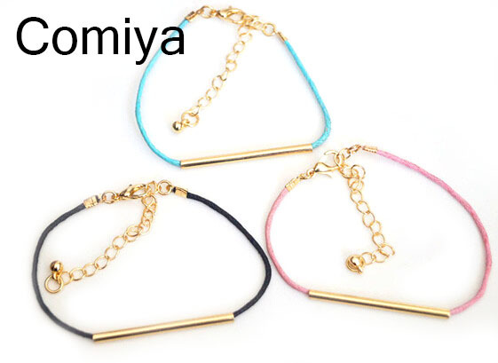 Wholesale hot new style 2015 fashion rope and gold plated bar charm bracelets For Women gift for girls statements charms Bracelt(China (Mainland))