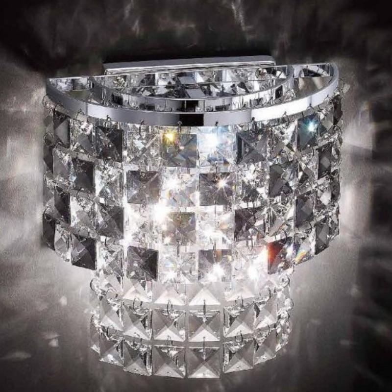 Promotional Crystal Wall Lights Bedroom Sconces E14 Clear Chrome/Gold 110V 220V - Ala Lighting Corporation store
