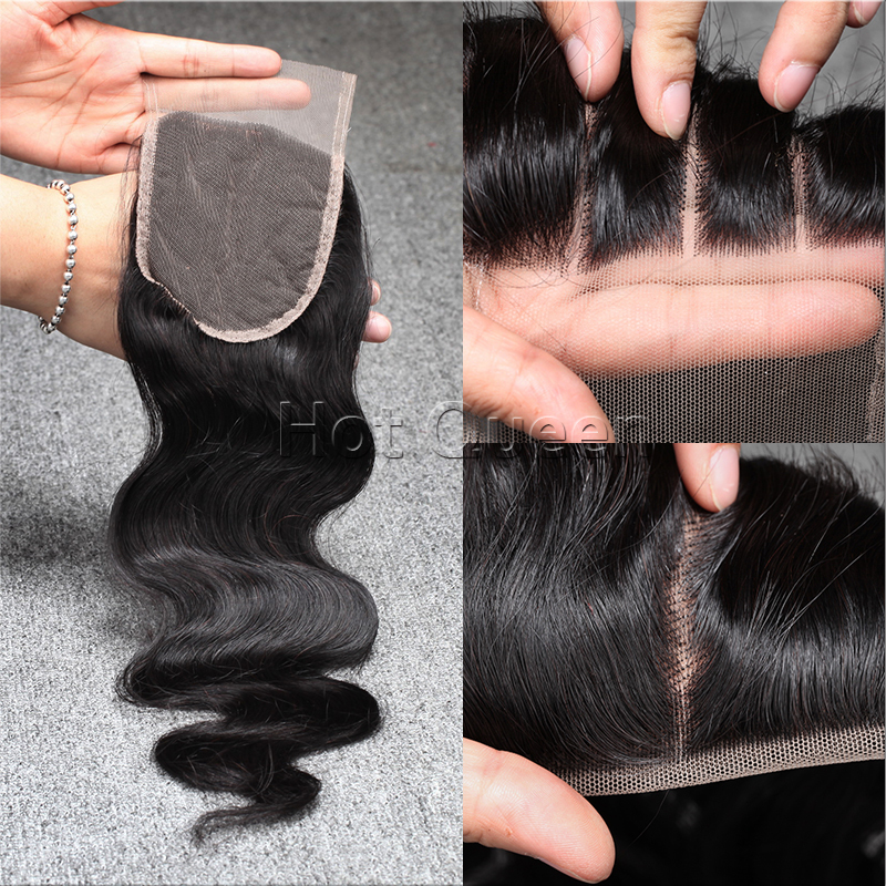 "Free/Middle/Three/3 Part Closure Body Wave Lace Closure 4""x 4""Peruvian Virgin Hair Top Front Swiss Lace Closures Free Shipping(China (Mainland))"