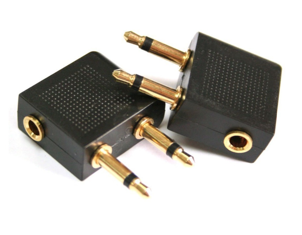 Golden Plated Airline Airplane Female to Dual 3.5mm Mono Male Flight Adapter for Travel Headphone Stereo Audio Adapter(China (Mainland))