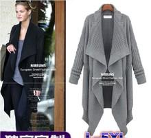 European Style New Fashion 2015 Autumn Long Front Short Back Plus Size Sweater Coat Women Casual Long Cardigans Big Size 5XL(China (Mainland))