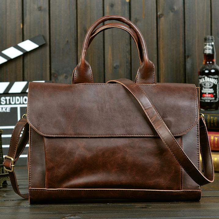 Designer brand vintage crazy horse pu leather briefcase laptop bag men messenger bag portfolio male high quality handbag 2015(China (Mainland))