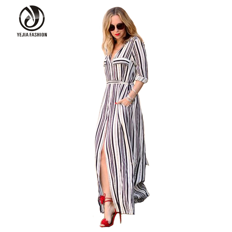Fashion Black And White Striped Women Maxi Dress Long Sleeve Summer font b Maternity b font