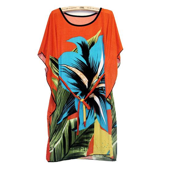 Hippie Boho Gypsy Factory Price Vintage Orange Floral Print Women Bohemian Mini Summer Style Dress Plus Size With Belt(China (Mainland))