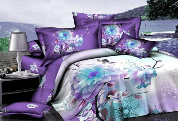 Buy 3d purple white blue floral bedding - Purple and blue comforter sets ...