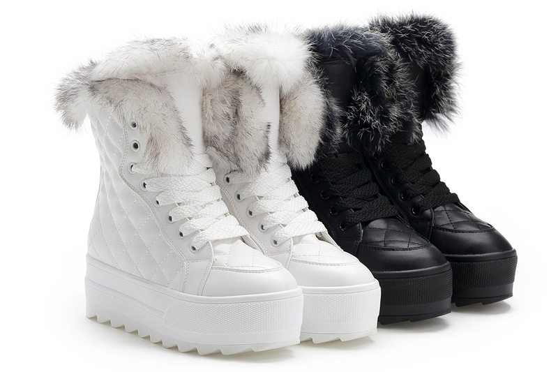 2015 Popular Snow Boots Women Non-slip Flat Heels Autumn Winter Lady Fur Boots Waterproof Classic Lace Up Boots Stivaletti Donna<br><br>Aliexpress