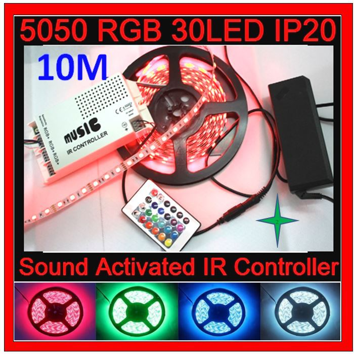 Flexible Light 30d/m 5m 5050 RGB Ribbon Tape waterproof IP20 Decorate Led Strip+60W Music Sound Controller+12V5A Power Supply(China (Mainland))