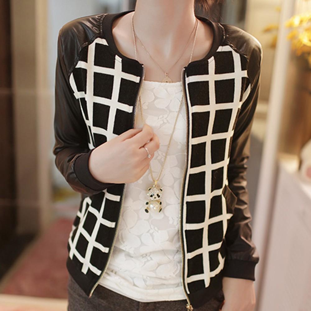 воротника черные кожаные длинные проверки & пледы Куртка Пальто Верхняя одежда для женщин
