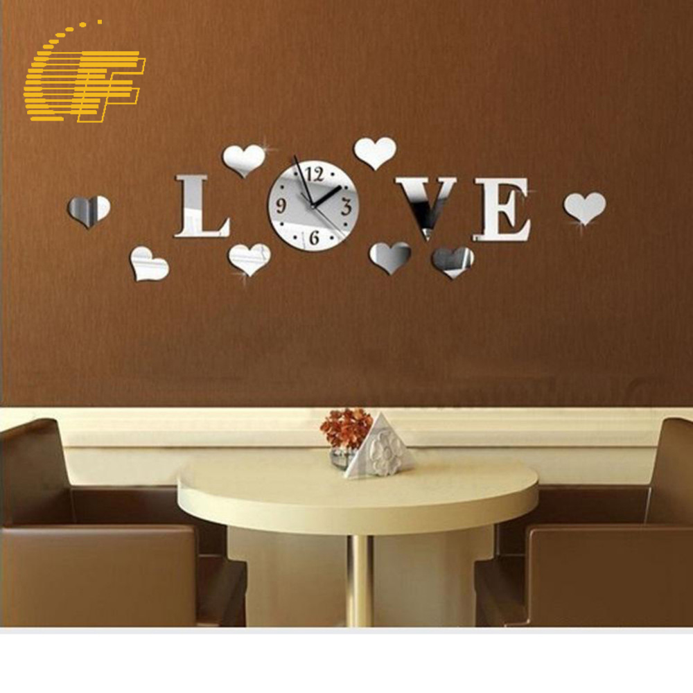 New Arrival Art 3D DIY Love Heart Wall Sticker Luxury Removable Mirror Wall Clock Home Livingroom Bedroom Office Craft Decor -48(China (Mainland))