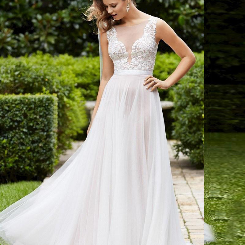 Elegant plus size lace wedding dresses vintage beach for Plus size illusion wedding dress