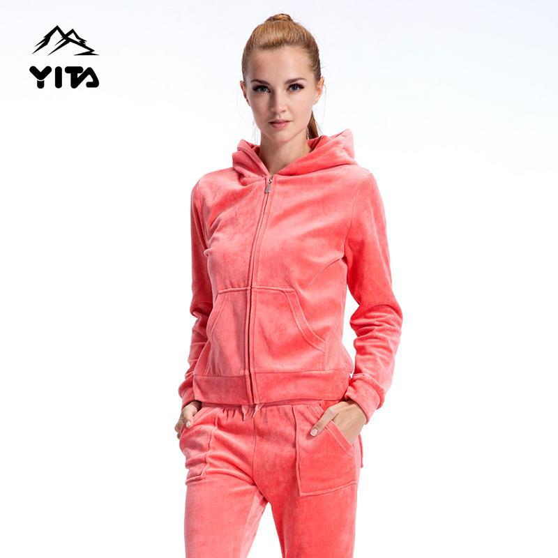 NEW brand casual Outdoor sport running velvet sports set windproof thermal autumn winter female womens for woman hooded fleece <br><br>Aliexpress