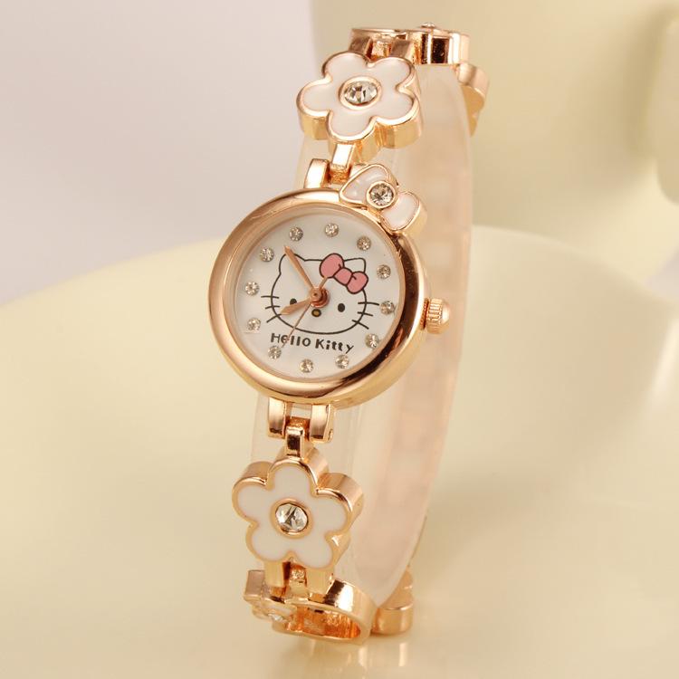 Женщины hello kitty часы женщины золото браслет часы женское кварцевый часы