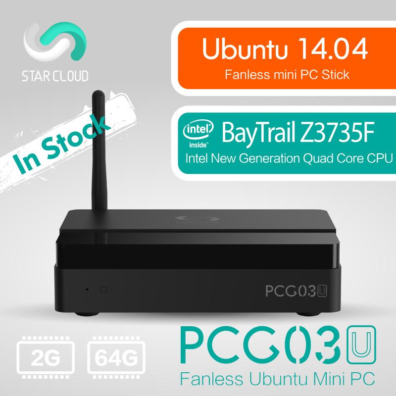 Fanless Ubuntu 14.04 Intel PC Stick Star Cloud PCG03U Mini PC Bay Trail Z3735F 2GB DDR3 64GB eMMC VGA HDMI LAN WiFi(China (Mainland))