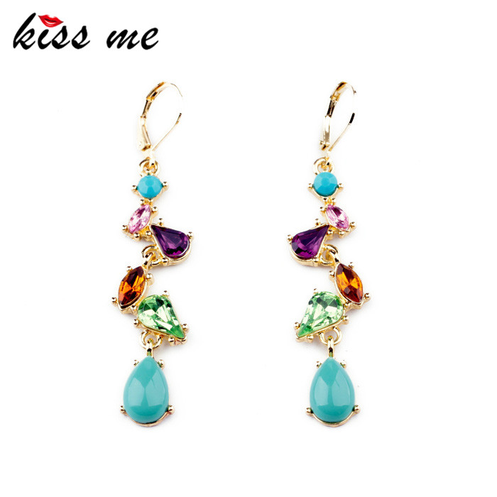 ed00412 KISS ME New Styles 2013 Fashion Women Jewelry Water Drop Elegant Multicolor Earrings - Official Store store