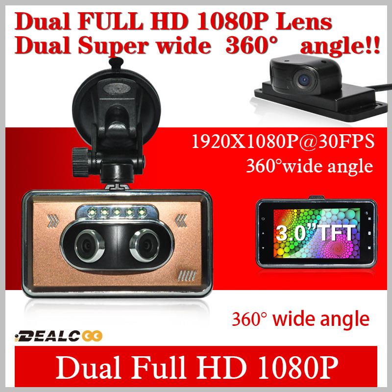 2014 New DK880 Dual Lens1080P 3.5inch Car DVR H.264 HD 1920*1080P HD HDMI External IR G-Sensor Vehicle Blackbox DVR Freeshipping(China (Mainland))