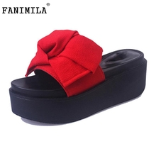 Buy Ladies Wedges Sandals Women Bowtie Platform Slippers Solid Color High Wedges Shoe Vacation Summer Beach Footwears Size 35-39 for $13.86 in AliExpress store
