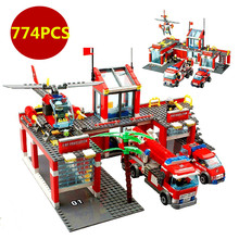 774pcs/set City Fire Station Truck Helicopter Firefighter Minifigure Building Blocks Bricks Toys Lego Compatible
