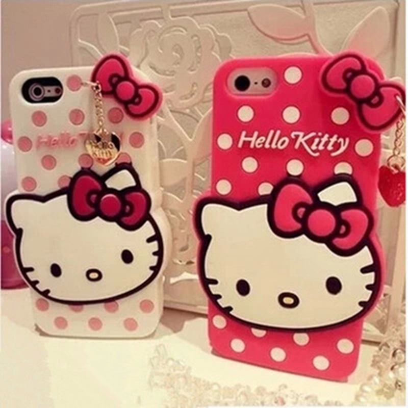 Fashion 3D Lovely Hello Kitty Soft TPU rubber Cute Phone Cover iPhone 4 4s 5 5s SE 6 6s 7 Plus Cartoon Case 4.7 5.5 inch - Threesha Digital accessories Store store