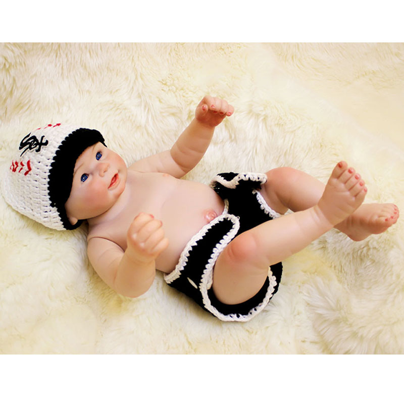 Cute 20''Full Silicone Reborn Baby Doll Vivid New Born Baby Vinyl Stuffed Fashion Doll Waterproof with Hat Boy Gifts Collection(China (Mainland))