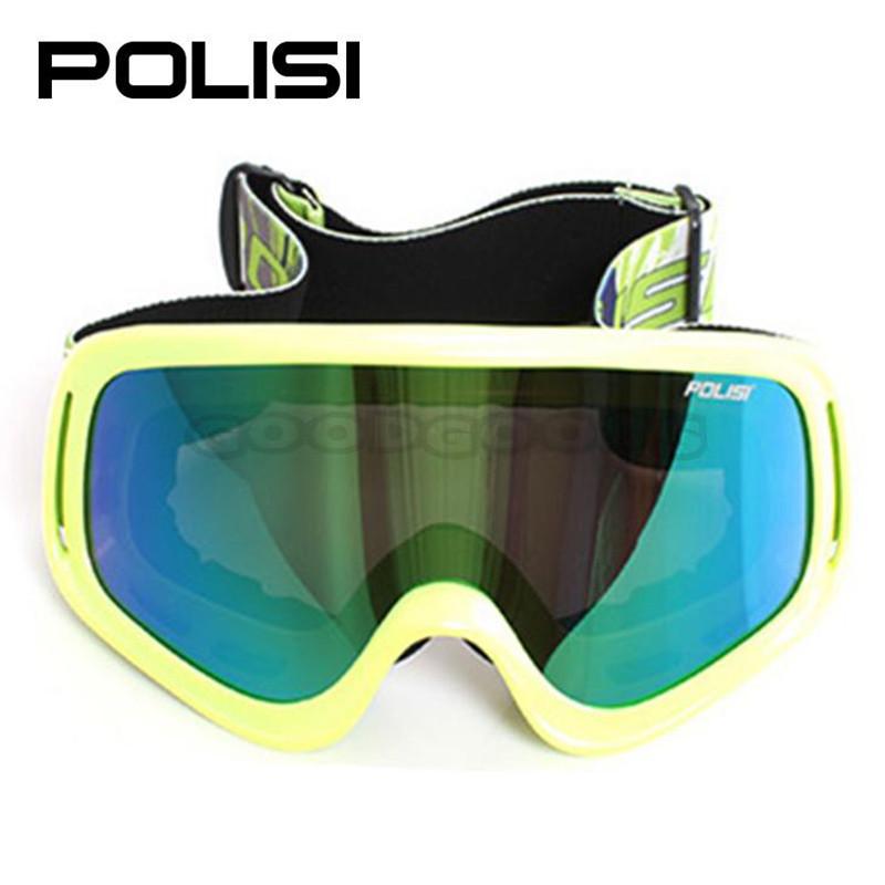 hot sale POLISI P818-GR Ski Snowboarding snowboard goggle Motorcycle Snowmobile ATV Skate Sled Glasses Eyewear Green Frame(China (Mainland))