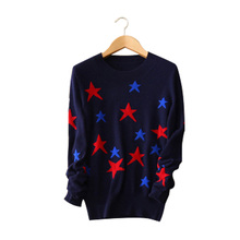 100% cashmere 3 colors sweater contract color stars O-neck long sleeve knitting pullovers women's winter/autumn clothings