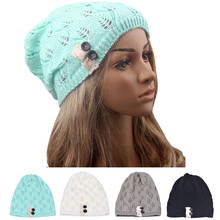 Fashion women Knitting Hat casual Hollow Out Leaves lace button wool hat female 2015 tiene sale wf(China (Mainland))