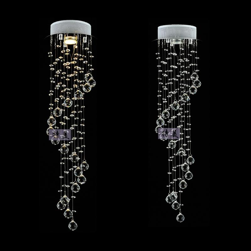 Modern Brief Led Stair Lamp Long Pendant Light K9 Crystal