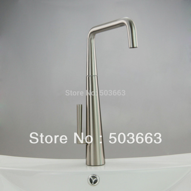 Nickel Brushed Finish Brass Kitchen Sink Faucet Bath Basin Bathroom Mixer Tap Waterfall ST8020