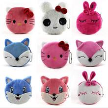 Hot Sale New Cartoon Animal Plush Coin Purses Girls Cute Cat Dog Rabbit Mini Wallets Kids Change Bags Small Handbag Gift 10*10cm(China (Mainland))