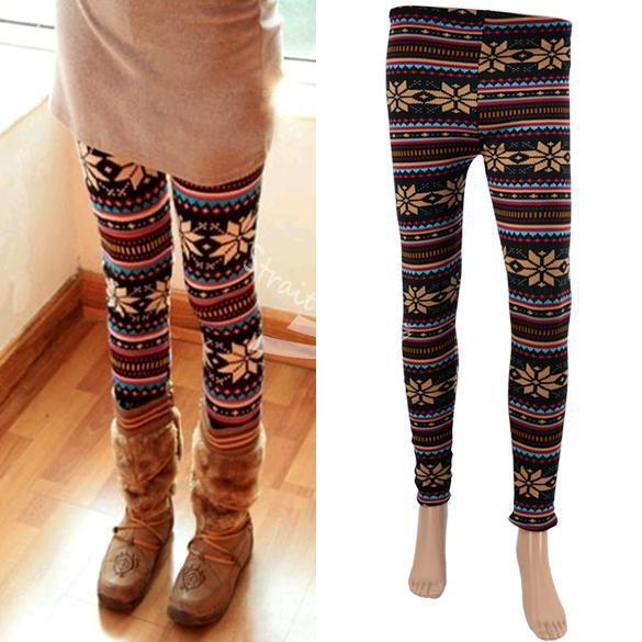 Free shipping 2015 explosion models hot fashion trend Women's Snowflake Pattern Warm Leggings Ti(China (Mainland))
